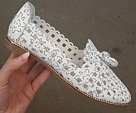 Versace Прованс ! Стильные женские белые летние кожаные балетки туфли натуральная кожа