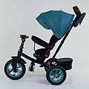 Трехколесный велосипед бирюзовый Best Trike модели 9500 надувные колеса поворотное сидение музыка, фото 4