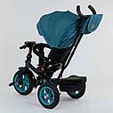 Трехколесный велосипед бирюзовый Best Trike модели 9500 надувные колеса поворотное сидение музыка, фото 3