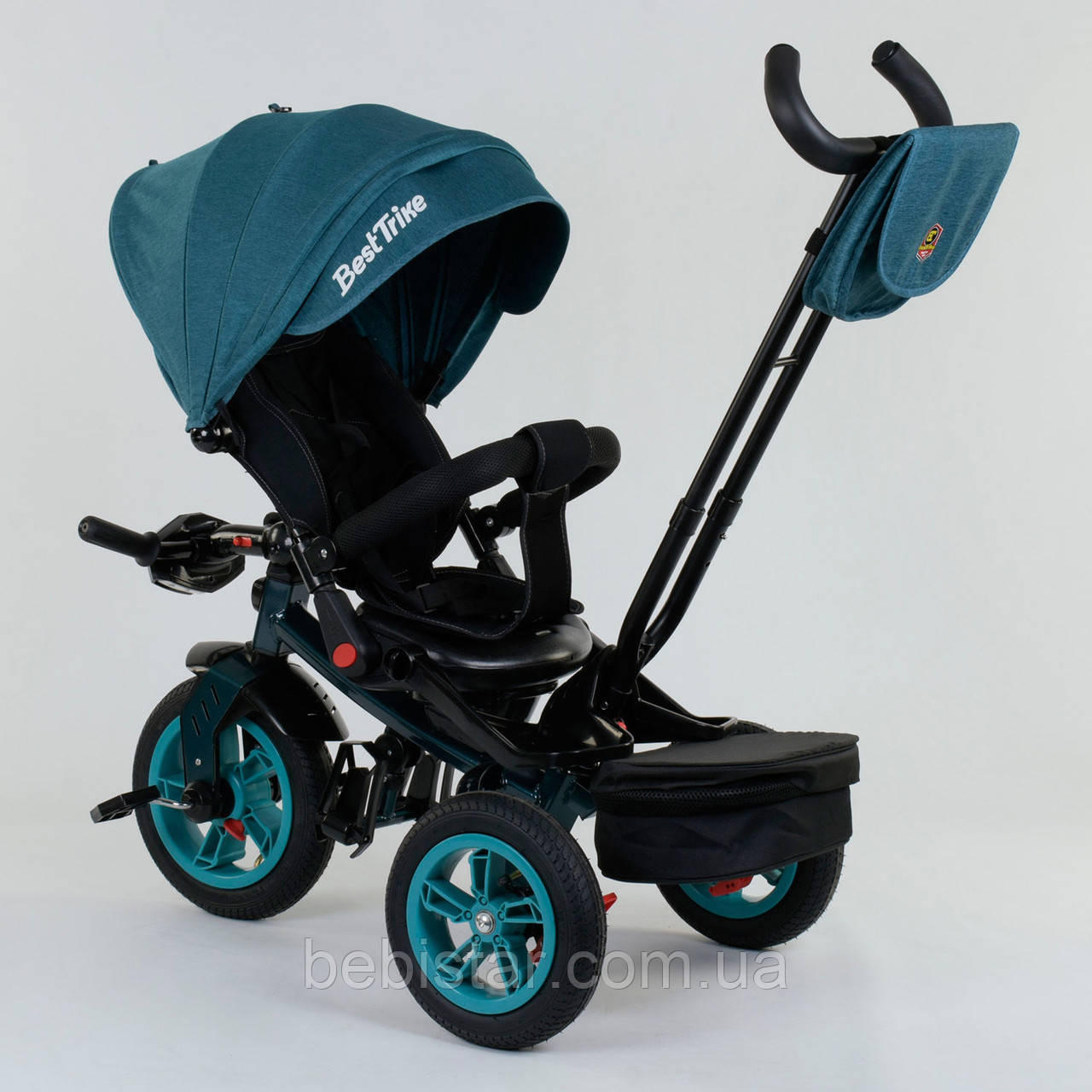 Трехколесный велосипед бирюзовый Best Trike модели 9500 надувные колеса поворотное сидение музыка