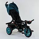 Трехколесный велосипед бирюзовый Best Trike модели 9500 надувные колеса поворотное сидение музыка, фото 5