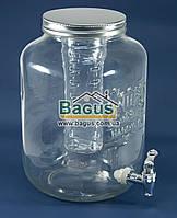 Емкость для напитков (лимонадница) 8л стеклянная ПРОЗРАЧНАЯ с краником и инфузором Handycor