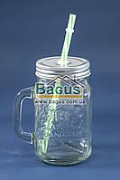 Кружка для подачи напитков 400мл стеклянная ПРОЗРАЧНАЯ с крышкой и трубочкой Handycor