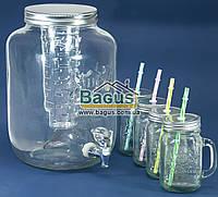 Емкость для напитков (лимонадница) 8л стеклянная ПРОЗРАЧНАЯ с краником, инфузором и 4 кружки 400мл Handycor