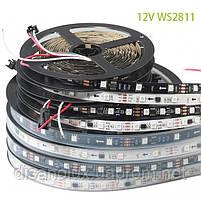 Светодиодная  Адресная Smart LED лента WS2811  5050 12V 60Led/m  5m RGB  черная подложка IP65, фото 7