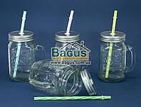 Набор кружек (4шт./наб.) для подачи напитков 400мл стеклянных ПРОЗРАЧНЫХ с крышками и трубочками Handycor