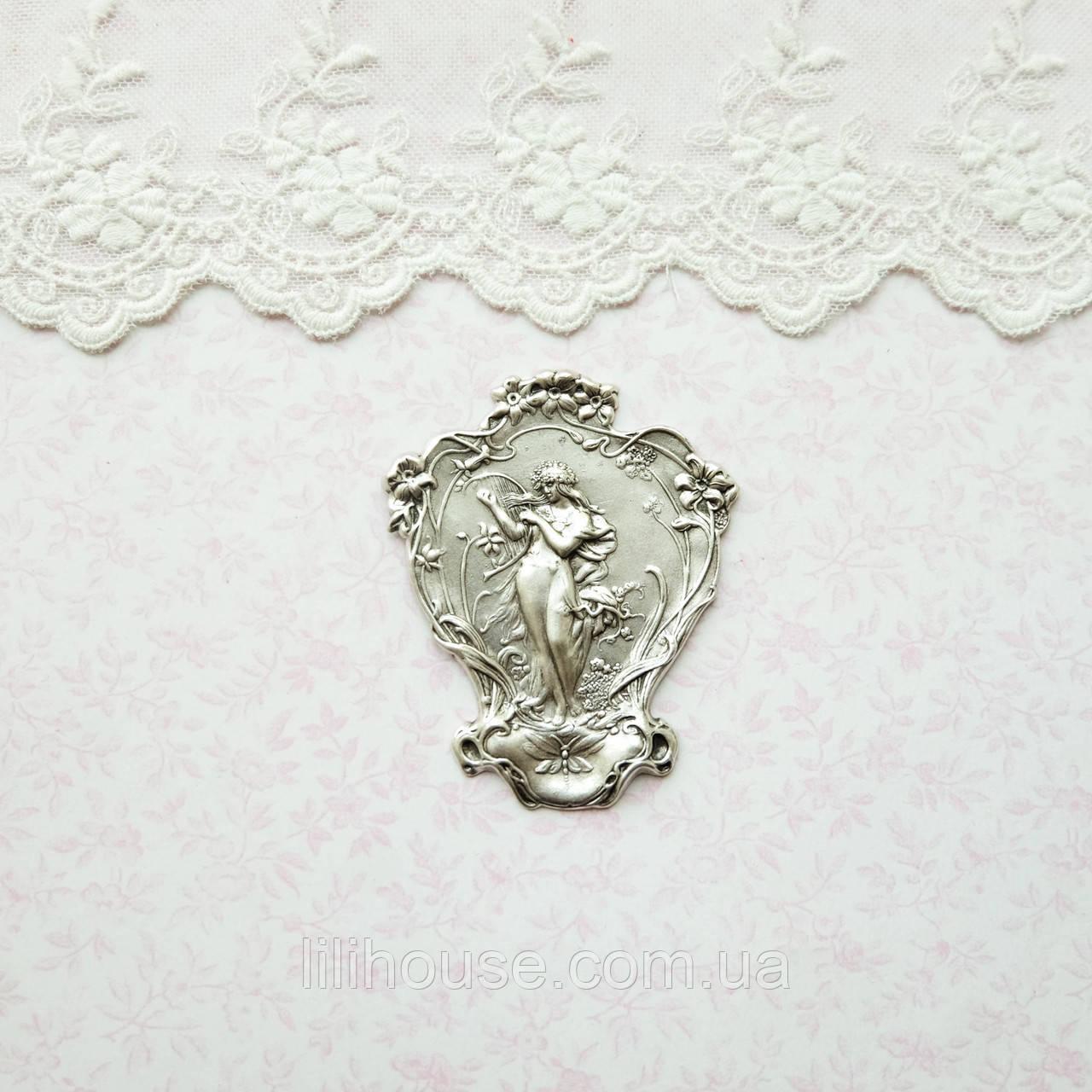 """Латунный штамп """"Дева с арфой"""" посеребренный, 64*52 мм"""