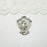 """Латунный штамп """"Дева с арфой"""" посеребренный, 64*52 мм  , фото 1"""