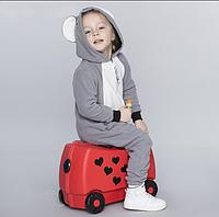 Детский Чемодан на 4 колесиках Trunki / Транки красный с сердечками цвет на 18 л. + Подарок, фото 1
