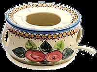 Подставка-подогреватель для чайника Ø16 см керамический с ложкой для свечи Яблука наливні