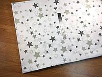 Хлопковая ткань польская звезды серые, темно-серые, белые- большие и маленькие на белом