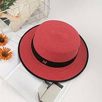 Шляпа женская летняя канотье в стиле Maison Michel красная