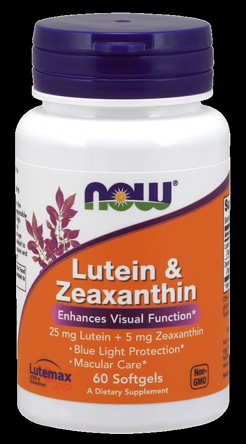 Препарат для улучшает работы глаз NOW Foods Lutein & Zeaxanthin (60 капс)