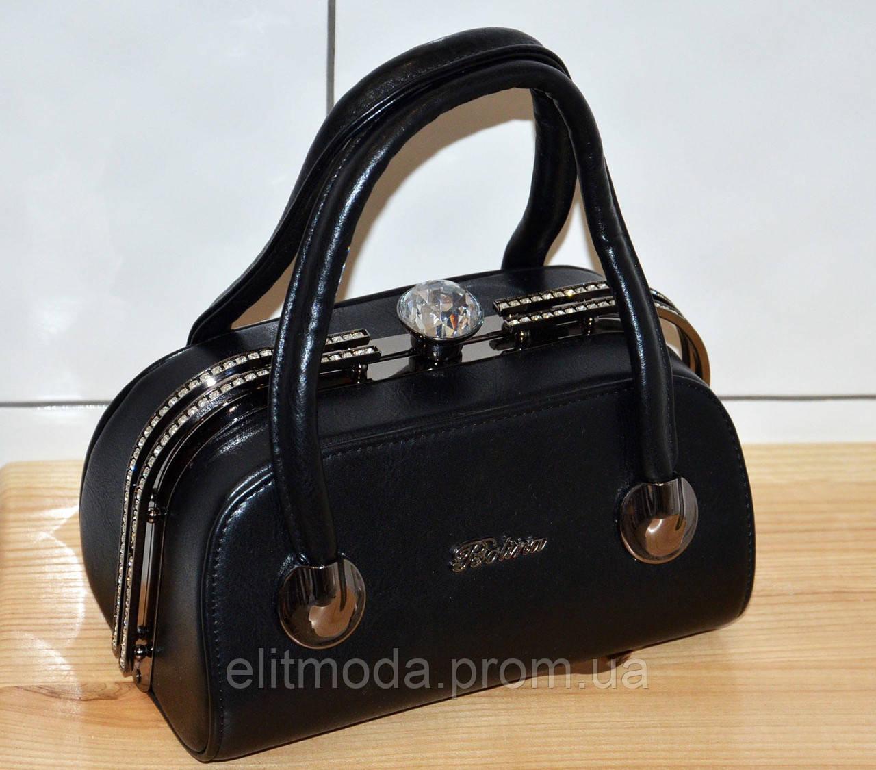 3cd58a698068 Красивая черная модная гламурная сумочка со стразами в форме саквояжа,  камень