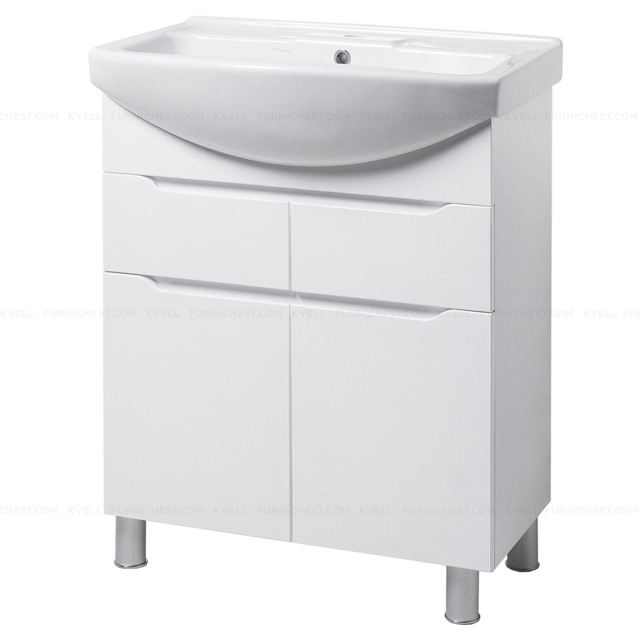 Тумба під раковину для ванної кімнати на ніжках ВІСЛА Т5 (біла) з умивальником ИЗЕО 70
