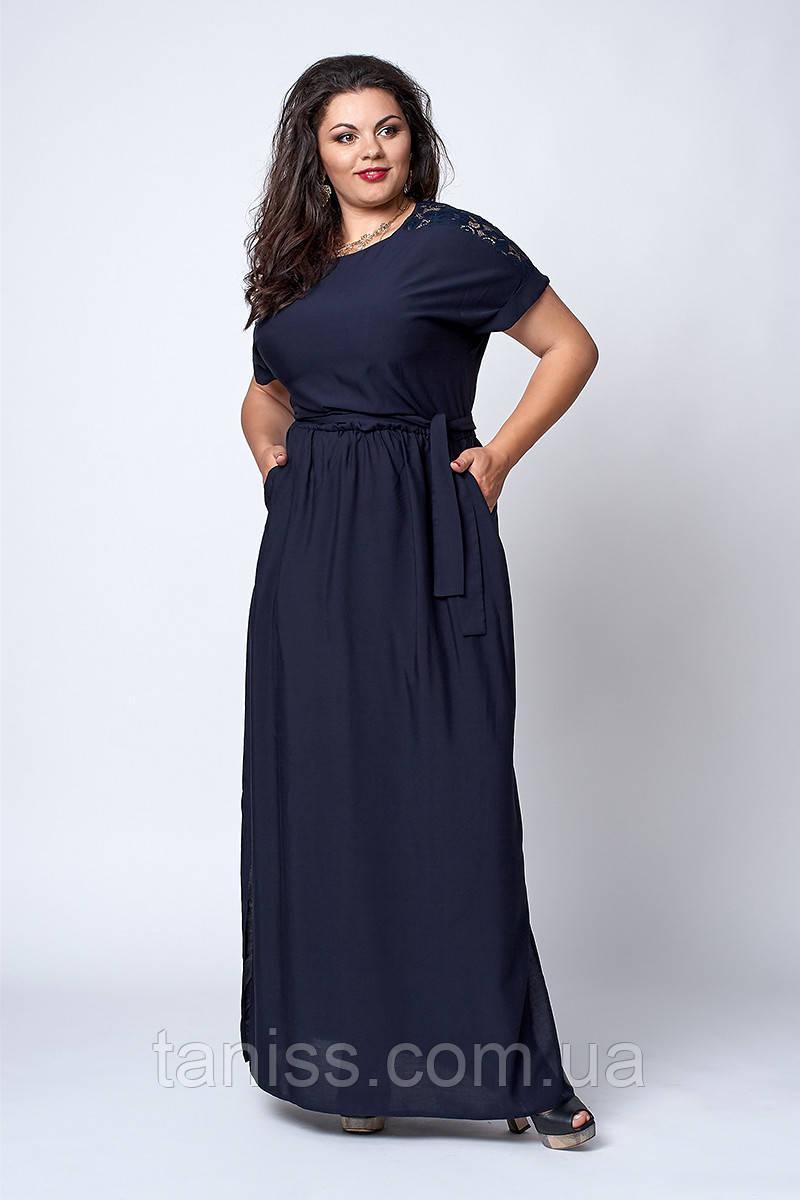 Нарядное платье, сарафан, макси, в пол, ткань штапель, украшено гипюром, р. 54,56,60 синее (561)