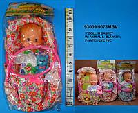 Лялька-пупс (кукла-пупс) 23 см 9078MBV (96шт) в корзині з іграшкою 3 види в кул.