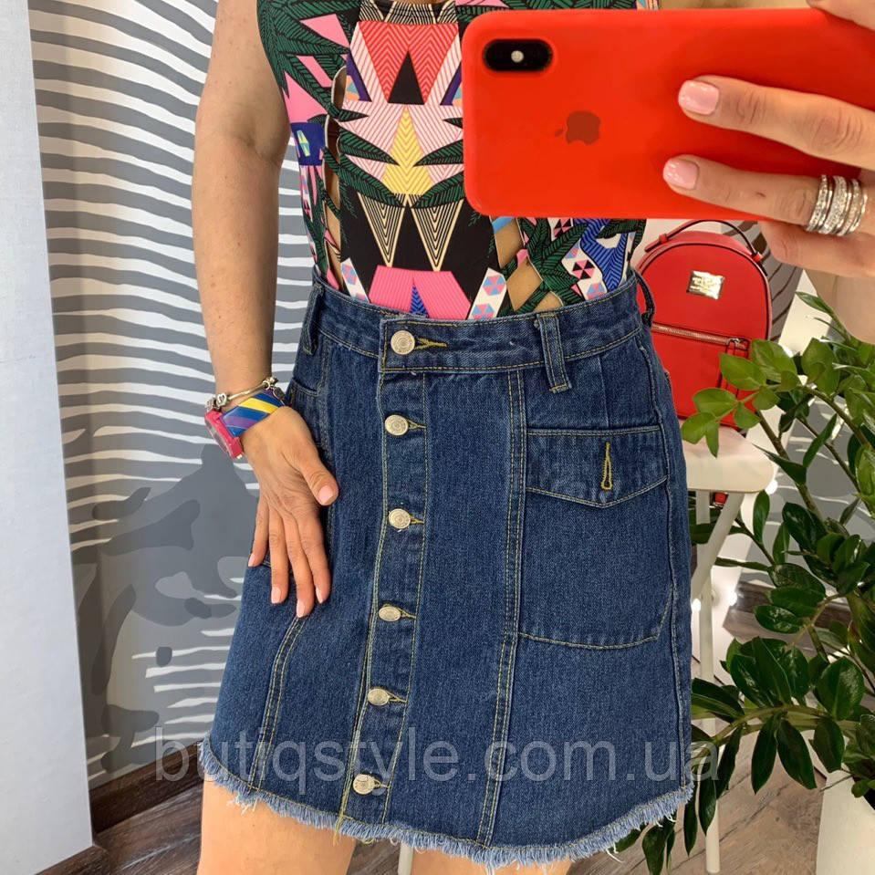 Женская джинсовая юбка на пуговицах с карманами