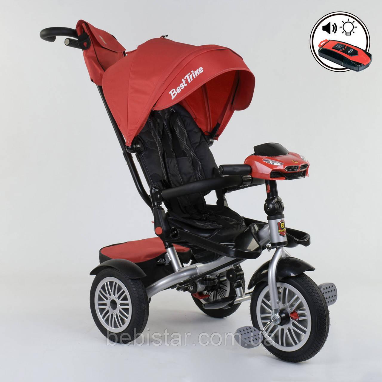 Трехколесный велосипед красный Best Trike модели 9288 пульт надувн колеса поворот сидение музыка свет