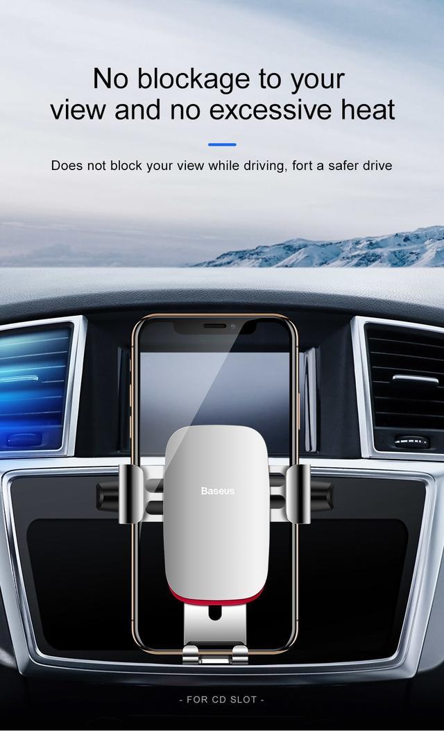 Автодержатель в CD слот Baseus Metal Age Gravity Car Mount 360° SUYL-J01 SUYL-J0S Черный Серебристый