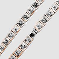 Серебряный браслет с золотом и ликами святых Георгия Победоносца, Николая Чудотворца и Архангела Михаила, фото 1