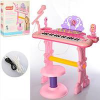 Детское пианино-синтезатор с микрофоном 888-20 на ножках со стульчиком - 53 см, запись, свет, 37 клавиш