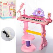 Детское пианино-синтезатор с микрофоном 888-20 на ножках со стульчиком, запись, свет, 37 клавиш, в коробке