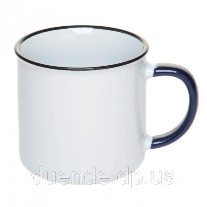 Чашка керамическая с цветным ободком и красной ручкой, 305 мл, от 10 шт / su 88200204