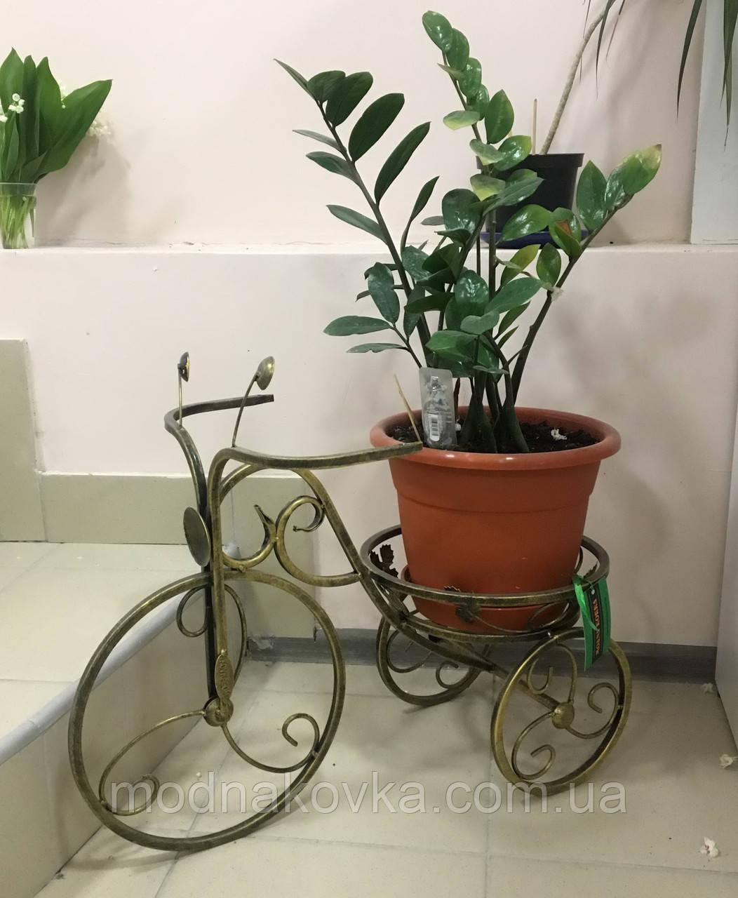 Кованая подставка для цветов Велосипед 1 малый черный/золото
