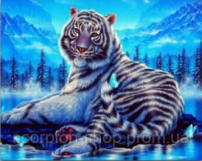 """Алмазная живопись картина """"Тигр"""" (40*30 см) Полная закладка"""