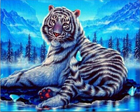 """Алмазная живопись картина """"Тигр"""" (40*30 см) Полная закладка, фото 1"""