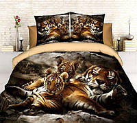 """3D Постільна білизна Євро розміру """"Софія"""" - Сплячий тигр"""