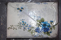 """Комплект полуторного постельного белья жатка """"Тирасполь"""" цветы на молочном фоне"""