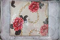 """Комплект постельного белья Евро размера жатка """"Тирасполь"""" красные цветы"""