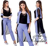 f8a56ac83e1b Женский брючный костюм тройка 403 в расцветках \ батал, цена 700 грн ...