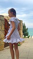 Платье-сарафан для девочки в горошек,ткань супер софт, 2 цвета:синее и белое,рост:134,140,146,152, код 0743, фото 2