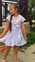 Платье-сарафан для девочки в горошек,ткань супер софт, 2 цвета:синее и белое,рост:134,140,146,152, код 0743, фото 3