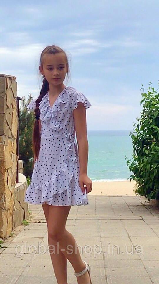 Платье-сарафан для девочки в горошек,ткань супер софт, 2 цвета:синее и белое,рост:134,140,146,152, код 0743
