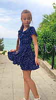 Платье-сарафан для девочки в горошек,ткань супер софт, 2 цвета:синее и белое,рост:134,140,146,152, код 0743, фото 4
