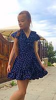Платье-сарафан для девочки в горошек,ткань супер софт, 2 цвета:синее и белое,рост:134,140,146,152, код 0743, фото 6