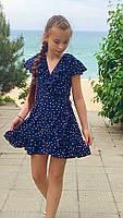 Платье-сарафан для девочки в горошек,ткань супер софт, 2 цвета:синее и белое,рост:134,140,146,152, код 0743, фото 5