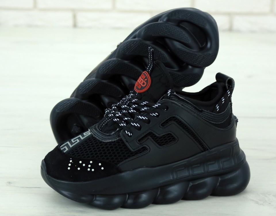 Кроссовки Versace Chain Reaction Sneakers реплика ААА+ (нат. замша/кожа) р. 36-44 черный (живые фото), фото 1