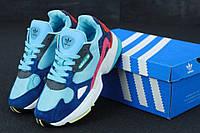 Кроссовки женские Adidas Falcon реплика ААА+ (натуральная кожа) размер 36-40 голубой (живые фото), фото 1