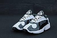 Кроссовки мужские Adidas Yung-1 реплика ААА+ (нат. замша) размер 41-45 серый (живые фото), фото 1