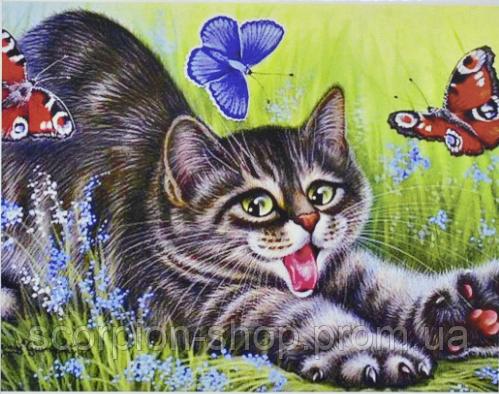 """Алмазная живопись картина """"Котенок"""" (40*30 см) Полная закладка"""