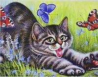 """Алмазная живопись картина """"Котенок"""" (40*30 см) Полная закладка, фото 1"""