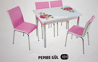 """Комплект обеденной мебели """"Pempe Gul"""" (стол МДФ, каленное стекло + 4 стула) Mobilgen, Турция"""