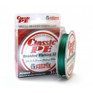 Шнур Fanatik Classik PE X4 100м Green #1.5/0.20мм 10.8кг