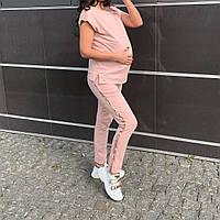 Хлопковый костюм с лвмпасами  для беременных и кормящих пудра