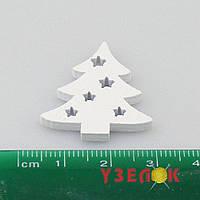 Деревянная елочка маленькая, 3 х 2.5 см, белый